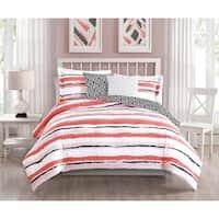 Studio 17 Colman 5-Piece Reversible Comforter Set - blush/white/charcoal