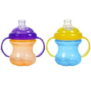 Nuby Blue/Orange No-Spill Grip N' Sip 8-ounce Cup (Set of 2)