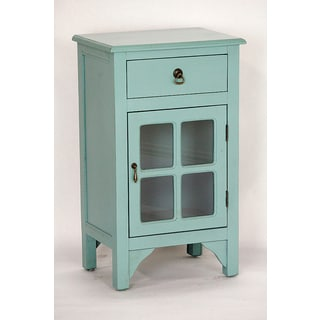 Blue Distressed Wood and Glass Single-door Single-drawer Cabinet