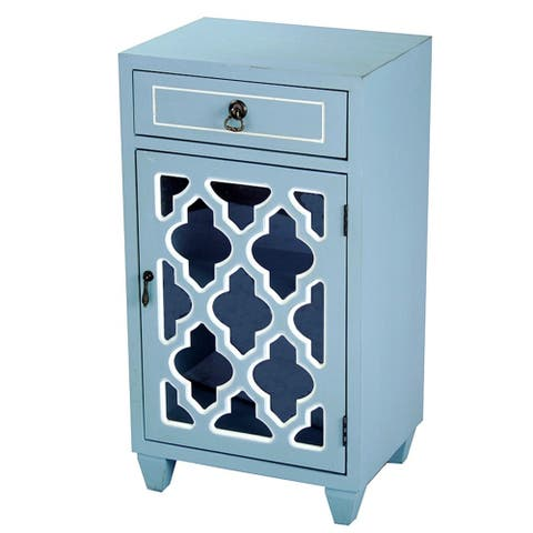 Standing Single-drawer Distressed Blue Wood Storage Cabinet with Clover Mirror Inserts