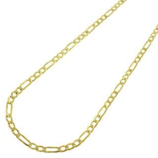 14k Yellow Gold 2.5mm Solid Figaro Link Necklace Chain