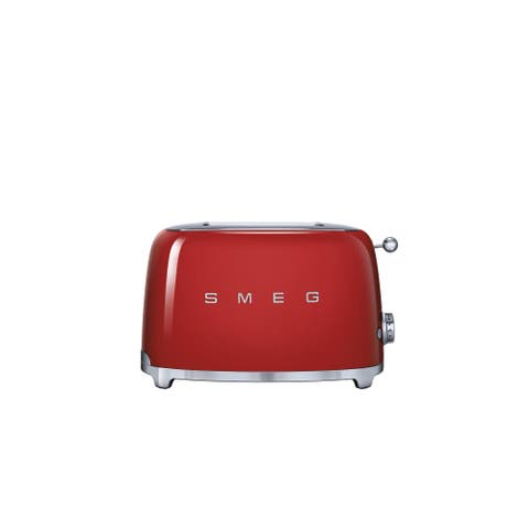 Smeg Red Stainless Steel and Plastic 50s Style 2-slice Toaster