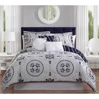 Studio 17 Bailey 7-Piece Reversible Comforter Set - navy/grey/white