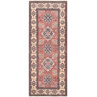 Herat Oriental Afghan Hand-knotted Vegetable Dye Kazak Wool Runner (2'8 x 6'9)