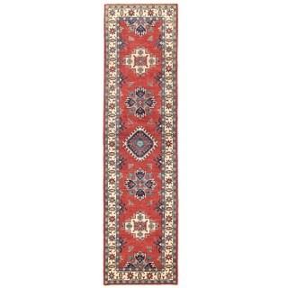 Herat Oriental Afghan Hand-knotted Vegetable Dye Kazak Wool Runner (2'7 x 10'1)