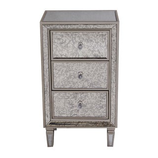 Heather Ann Creations Eleganza Series Champagne Mirror Trimmed Tall 3-drawer Cabinet