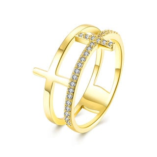 Gold Plated Laser Cut Cross Shape Cubic Zirconia Ring