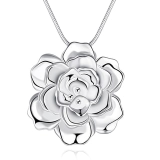 Sterling Silver Blossoming Flower CZ Necklace