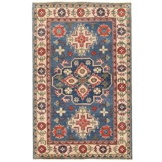 Herat Oriental Afghan Hand-knotted Vegetable Dye Kazak Wool Rug (3'1 x 4'10)
