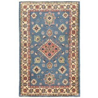 Handmade Herat Oriental Afghan Vegetable Dye Kazak Wool Rug - 3'2 x 5' (Afghanistan)