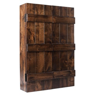 Brown Solid Wood 24-inch x 36-inch Stained and Glazed Medicine Cabinet