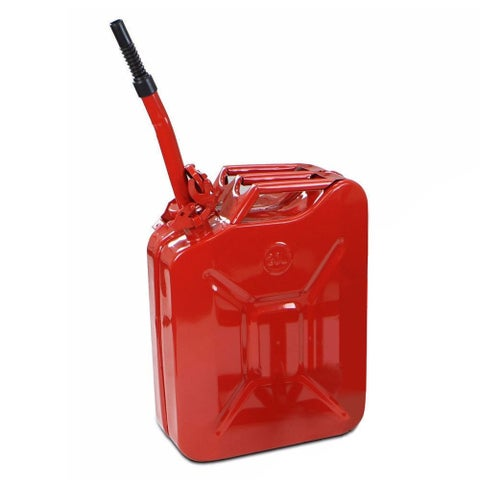 Red Steel 20-liter/5-gallon New Gas and Fuel Military Spouted Jerry Can Tank