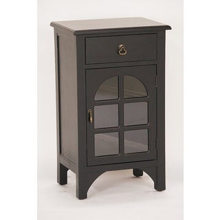 Black Wood/Glass Single Drawer Distressed Cabinet
