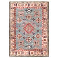 Handmade Herat Oriental Afghan Vegetable Dye Kazak Wool Rug - 4'10 x 6'9 (Afghanistan)
