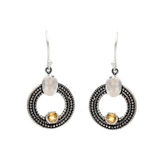Handcrafted Sterling Silver Citrine Circular Dangle Earring