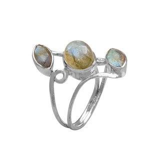 925 Sterling Silver Vine Design Ring with 3 Labradorite Gemstones