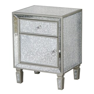 Heather Ann Creations Eleganza Silver Wood Mirror-trimmed Champagne Cabinet