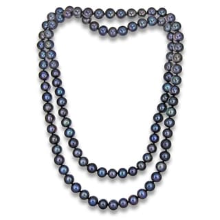 DaVonna Black Freshwater Pearl 9-10mm Endless Necklace, 36-inch