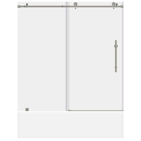 ULTRA-C Brushed Nickel and Glass Sliding Bathtub Door (56-60 W x 62 H)