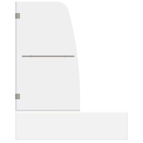 LessCare ULTRA-F Brushed Nickel 34 Inches Wide x 58 Inches High Swing-Out Bathtub Door