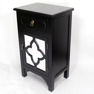 Black Wooden Standing Distressed Storage Cabinet with 1 Drawer and 1 Door with Clover Glass Window Inserts