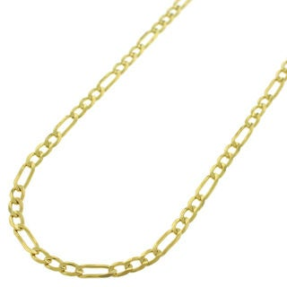 "Authentic 14k Yellow Gold 3mm Solid Figaro Link Necklace Chain 16"" - 30"", Men & Women, In Style Designz"