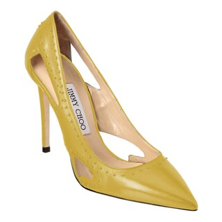 Jimmy Choo Vienna 100 Pop Yellow Studded Pumps