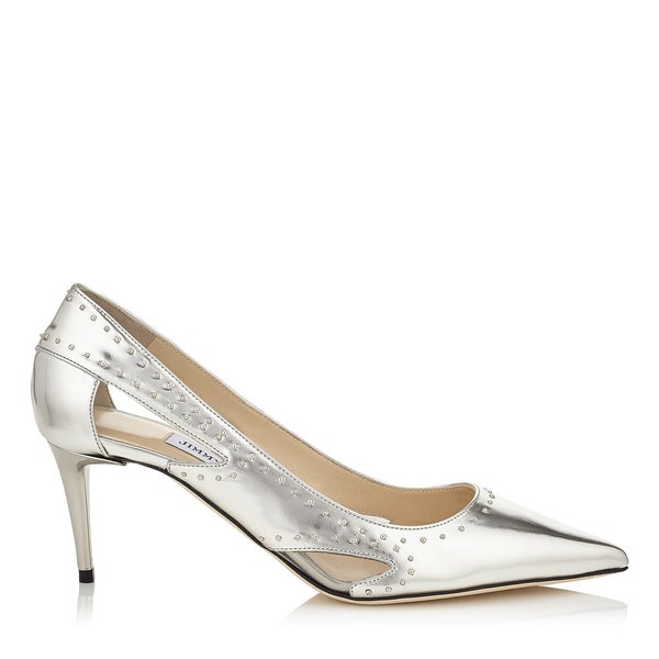 shop jimmy choo vienna 65 silver studded pumps free shipping today rh overstock com