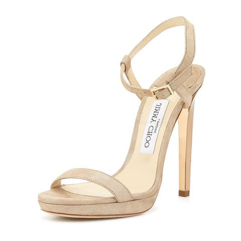 Jimmy Choo Claudette Nude Shimmery Pumps