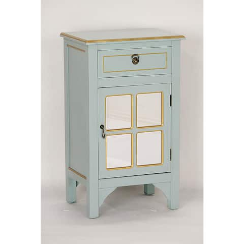 Single Door/Drawer Blue Wood Cabinet with 4 Square Mirrored Inserts