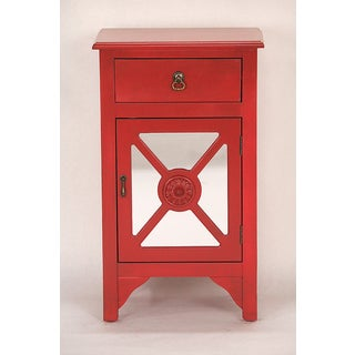 Red Wooden Cabinet with 1 Drawer and 1 Door with 4 Medallion Mirrored Inserts