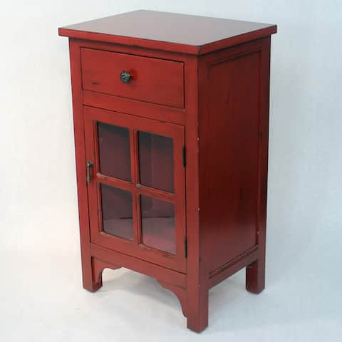Wood with 4 Square Glass Inserts 1-door/drawer Cabinet