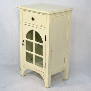 Single-drawer Distressed Cabinet with Cathedral Glass Window Inserts