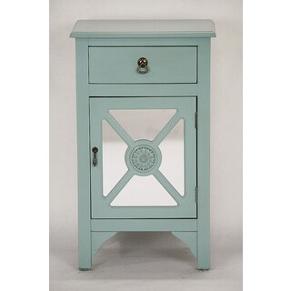 Single Drawer Blue Wooden Cabinet with 4 Medallion Mirrored Inserts