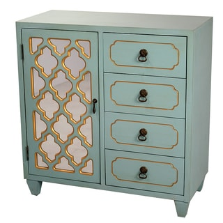 Heather Ann Creations Clover Turquoise/Gold Cabinet with Mirrored Backing