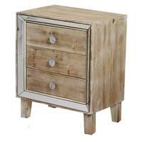 Heather Ann Creations Bon Marche Series Whitewash Wooden Cabinet with Mirrored Trim