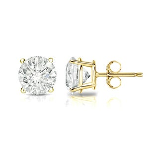 Auriya 18k Gold 1ct TDW Clarity-Enhanced Round Diamond Solitaire Stud Earrings - N/A - N/A