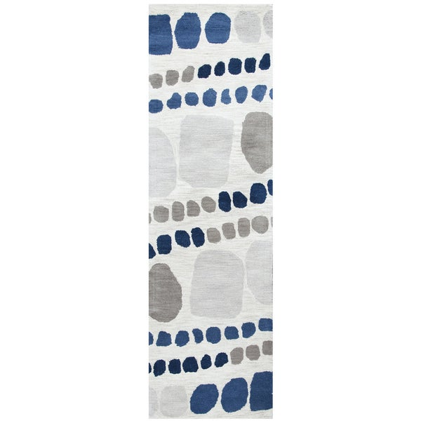 Hand-Tufted Marianna Fields grey Wool abstract Runner Area Rug - 2'6 x 8'