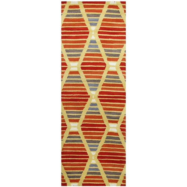 Hand-tufted Marianna Fields Multi Wool Striped Runner Rug (2'6 x 8')