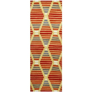 "Hand-Tufted Marianna Fields multi Wool striped Runner Area Rug (2'6"" x 8')"