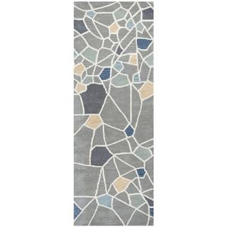 "Hand-Tufted Marianna Fields grey Wool abstract Runner Area Rug (2'6"" x 8')"