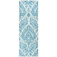 "Hand-Tufted Marianna Fields aqua/ Blue Wool ornamental Runner Area Rug (2'6"" x 8')"