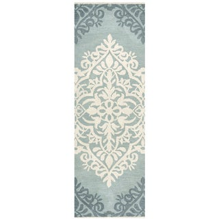 "Hand-Tufted Marianna Fields blue-green Wool ornamental Runner Area Rug (2'6"" x 8')"