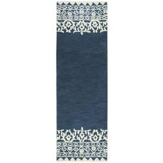 "Hand-Tufted Marianna Fields Navy Wool Ornamental Runner Area Rug (2'6"" x 8')"