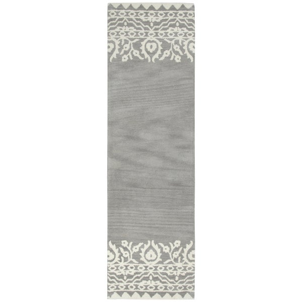 "Hand-Tufted Marianna Fields Gray Wool Ornamental Runner Area Rug (2'6"" x 8')"