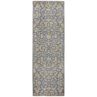 """Hand-knotted Maison natural Wool ornamental Runner Area Rug (2'6"""" x 8')"""