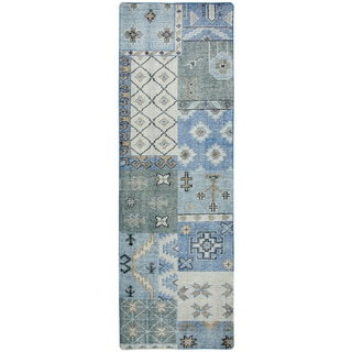 """Hand-knotted Maison Blue Wool patchwork Runner Area Rug (2'6"""" x 8')"""