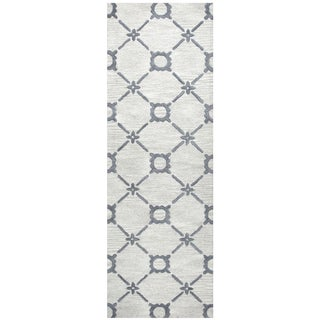 "Hand-Tufted Luniccia grey Wool print Runner Area Rug (2'6"" x 8') - 2'6"" x 8'"