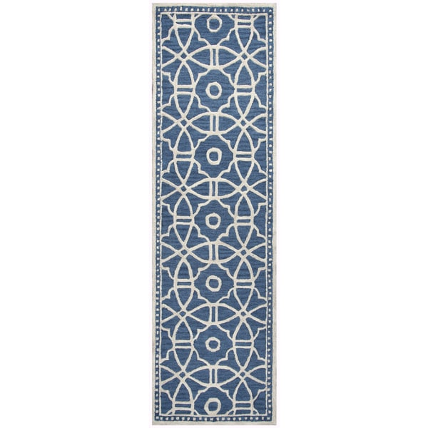 "Hand-Tufted Luniccia Blue Wool geometric Runner Area Rug (2'6"" x 8')"