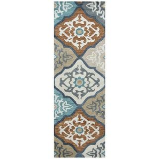 "Hand-Tufted Leone Ivory Wool Medallion Runner Area Rug (2'6"" x 8')"